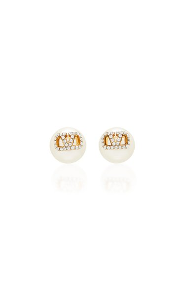 Valentino Garavani Gold-Plated Crystal Pearl Stud Earrings