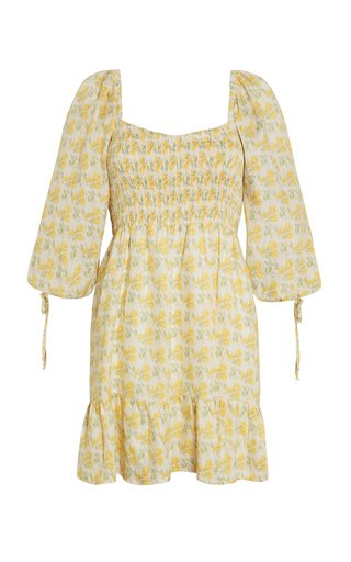 Romina Dahlee Floral Print Linen Mini Dress