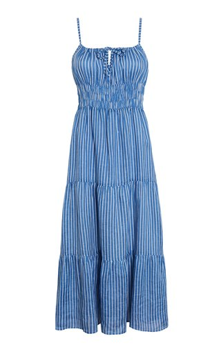 Shaloom Antico Striped Printlinen Midi Dress