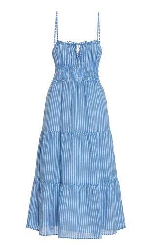 Shaloom Striped Linen Midi Dress