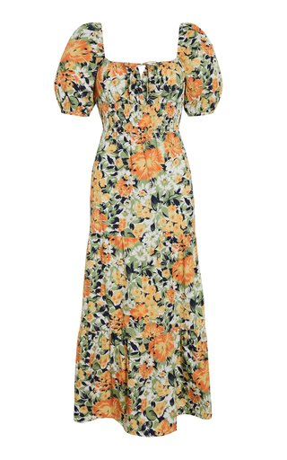 Rene Pilotta Floral-Print Cotton Poplin Midi Dress
