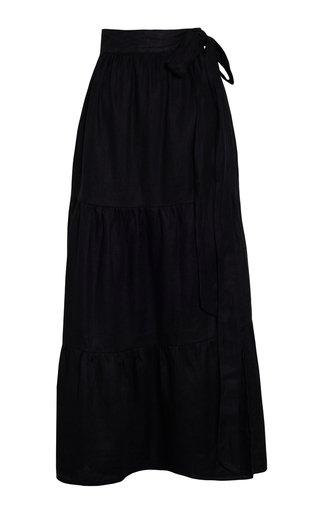 Cavaretta Tiered Linen Midi Skirt
