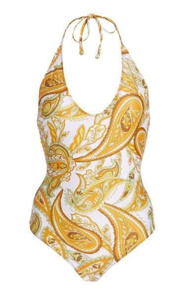 Liza Paisley-Print One-Piece Swimsuit