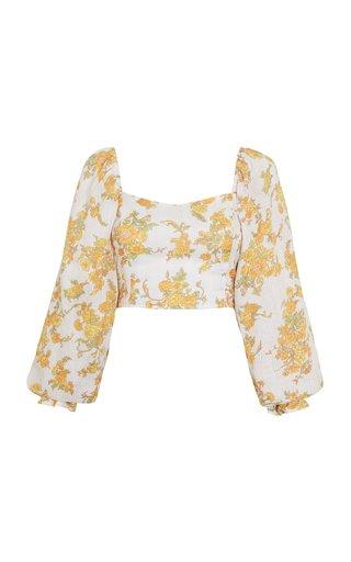 Carmody Linen Floral Print Linen Top