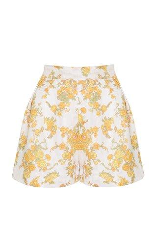 Ondineshort Linen Floral Print Linen Shorts