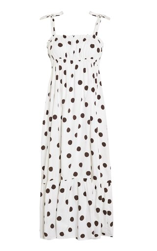 Gia Bessie Dot Print Cotton Poplin Midi Dress