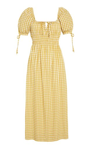 Flora Mari Check Print Linen Midi Dress