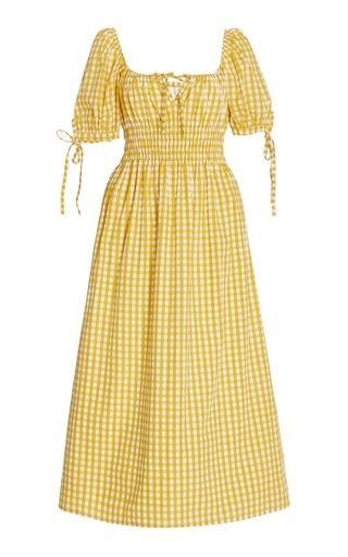 Flora Checked Cotton Midi Dress
