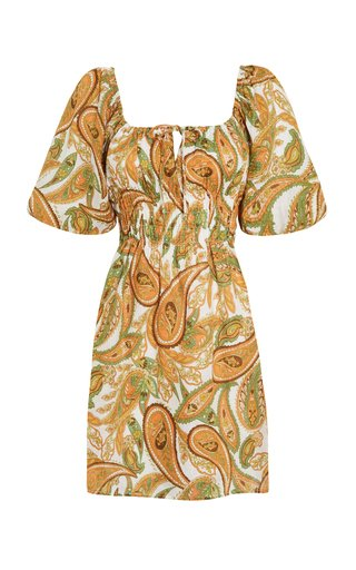 Nikoleta Juniper Paisley Print Linen Mini Dress