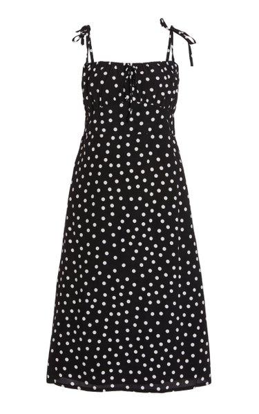 Raven Polka-Dot Crepe Midi Dress