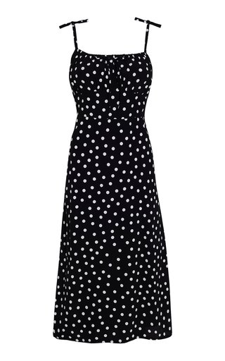 Raven Neoma Dot Print Crepe Midi Dress