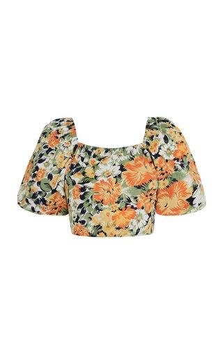 Pontina Pilotta Floral-Print Cotton Poplin Top