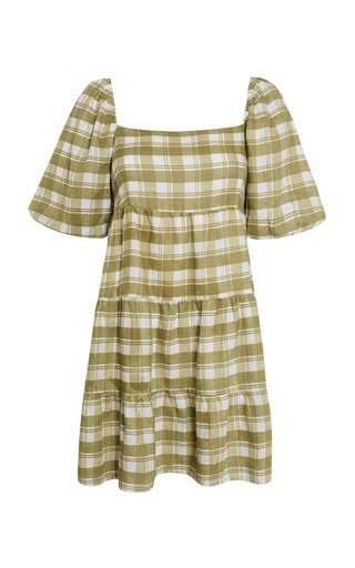 Leilani Ligne Check Print Linen Mini Dress