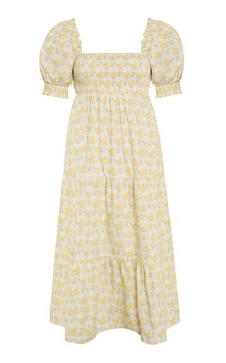 Luisa Dahlee Floral Print Cotton Poplin Midi Dress
