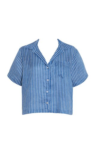 Deryn Antico Striped Linen Button-Down Shirt