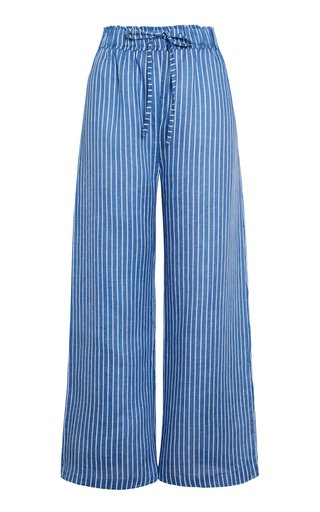 Brielle Antico Striped Linen Cropped Pants