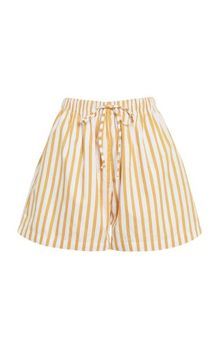 Sereno Martie Striped Cotton Poplin Shorts