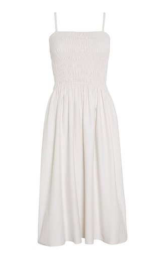 Camden Gathered Cotton Midi Dress
