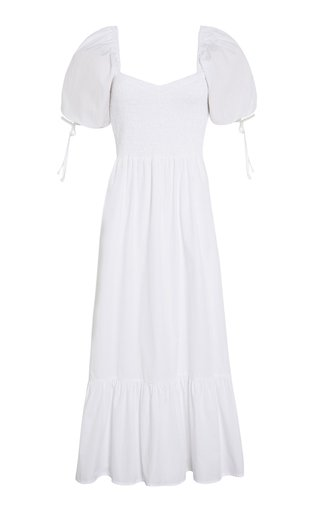 Lithana Cotton Poplin Peasant Midi Dress