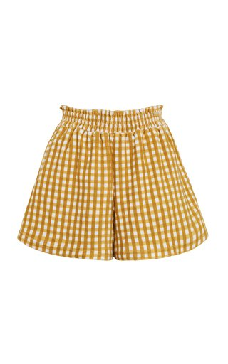 Reggie Mari Check Print Cotton Mini Shorts
