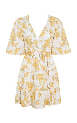 Rooney Linden Floral Print Linen Mini Wrap Dress