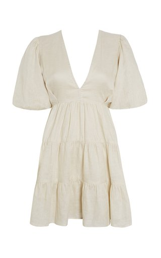 Elmiya Tiered Linen Mini Dress