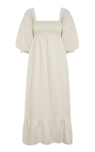 Sigrid Square-Neckline Linen Midi Dress
