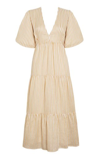 Aberdeen Brighton Stripe Tiered Linen Midi Dress