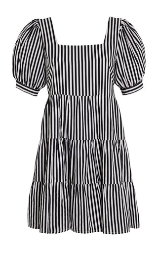 Eldora Brighton Striped Cotton Poplin Tiered Mini Dress