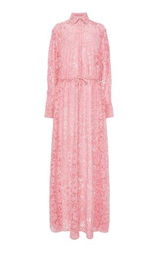 Silk Lace Maxi Shirt Dress