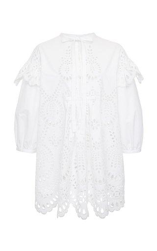Broderie Anglaise Cotton Tie-Neck Mini Dress