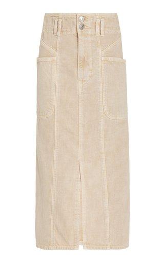 Toria Washed Cotton Midi Skirt