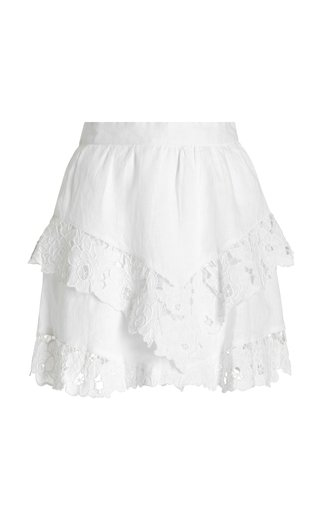 Enali Lace-Trimmed Linen Mini Skirt