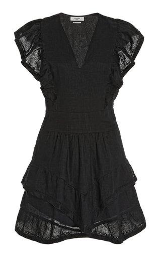 Audreyo Ruffled Linen Mini Dress
