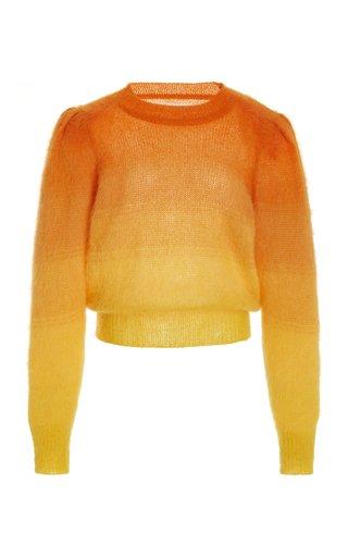 Deniza Puff-Sleeve Ombré Mohair-Blend Sweater