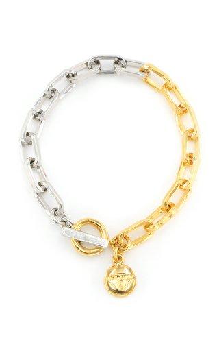 Two-Tone Metal Box Chain Bracelet