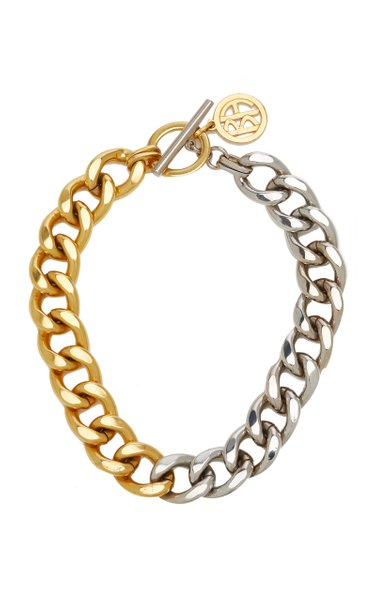Two-Tone Gold-Plate Metal Chain Necklace
