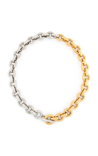 Two-Tone Metal Round Chain Necklace