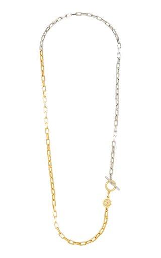Two-Tone Metal Y-Necklace