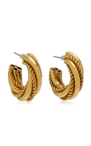 Gold-Tone Metal Twist Chunky Hoop Earrings