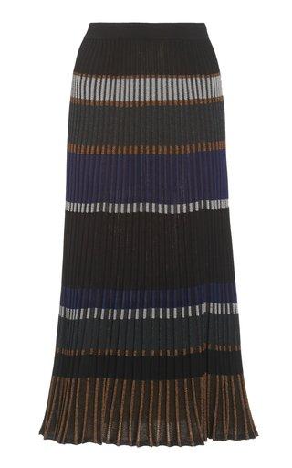 Zig Zag Striped-Knit Midi Skirt