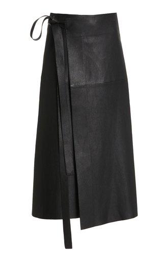 Leather Wrap Midi Skirt