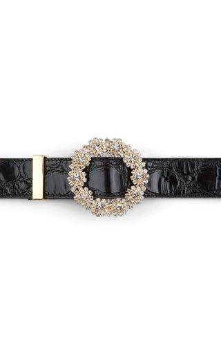 Cluster Crystal Leather Belt
