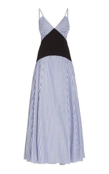 Knit-Paneled Striped Cotton Maxi Dress