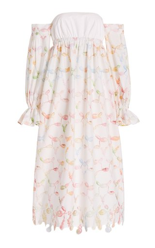 Puff-Sleeve Printed Cotton Off-The-Shoulder Maxi Dress