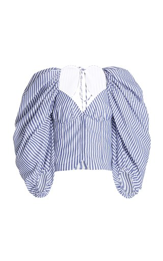 Madame Butterfly Striped Cotton Poplin Bustier Top