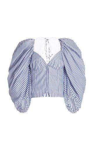 Madame Butterfly Striped Cotton Poplin Bustier Top