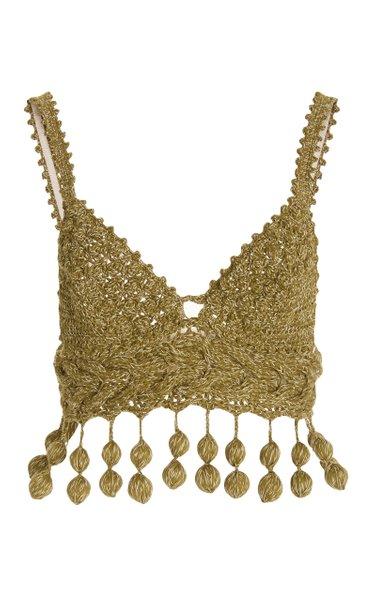 Carmen Miranda Crocket-Knit Bra Top