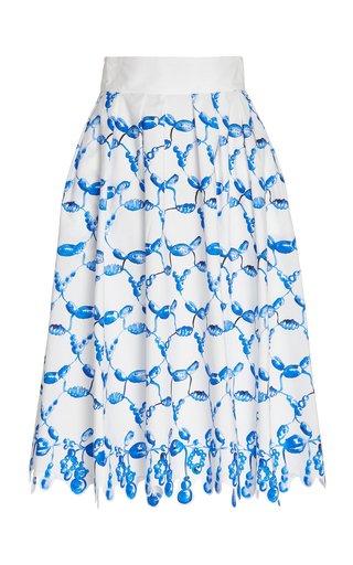 Scalloped Printed Cotton Pleated Midi Skirt