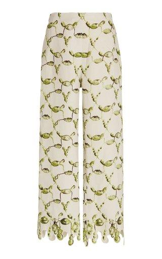 Printed Linen Cropped Straight-Leg Pants